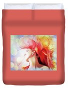 Red Hair With Bubbles Duvet Cover