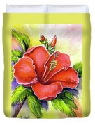 Red Hawaii Hibiscus Flower #301 Duvet Cover
