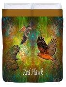 Red Hawk Moon Duvet Cover