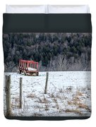 Red Hay Wagon Duvet Cover