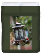 Red Head Wood Peckers On Feeder Duvet Cover