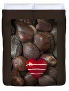 Red Heart Among Stones Duvet Cover