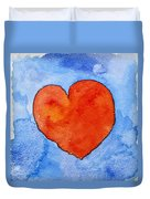 Red Heart On Blue Duvet Cover