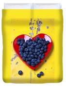 Red Heart Plate With Blueberries Duvet Cover