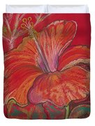 Red Hibiscus #1 Duvet Cover