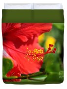 Red Hibiscus And Green Duvet Cover