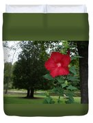 Red Hibiscus Highlights A Scene On The River Duvet Cover