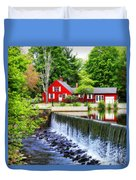 Red House By The Falls Duvet Cover