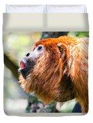 Red Howler Monkey Alpha Male Duvet Cover