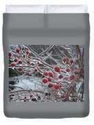 Red Ice Berries Duvet Cover