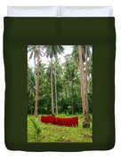 Red In The Jungle Duvet Cover