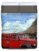 Red Jammer At Logan Pass Duvet Cover