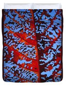 Red Kamani Tree Leaf Duvet Cover
