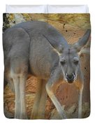 Red Kangaroo Duvet Cover