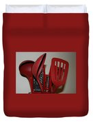 Red Kitchen Utencils Duvet Cover