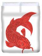 Red Koi Nishikigoi Carp Fish Drawing Duvet Cover