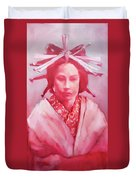 Red Lady Duvet Cover