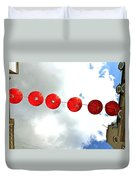 Red Lanterns In Chinatown Duvet Cover