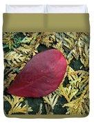 Red Leaf On  Arborvitae Leaves Duvet Cover