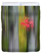 Red Leaves - Abstract Duvet Cover by Gary Lengyel