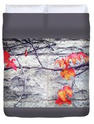 Red Leaves Growing By The Wall. Autumn Duvet Cover