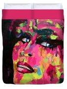Red Light Offer, Palette Knife Painting Duvet Cover