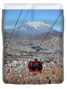 Red Line Cable Car Cabin And Mt Illimani Bolivia Duvet Cover