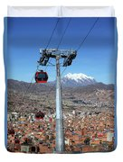 Red Line Cable Cars And Mt Illimani La Paz Bolivia Duvet Cover