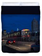 Red Line Train Rumbling Over The Longfellow Bridge In Boston Ma Duvet Cover