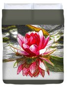 Red Lotus Flower Duvet Cover