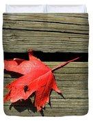 Red Maple Leaf On A Boardwalk  Duvet Cover