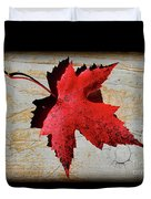 Red Maple Leaf With Burnt Edge Duvet Cover
