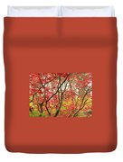 Red Maple Leaves And Branches Duvet Cover