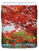 Red Maple On Lake Shore Duvet Cover