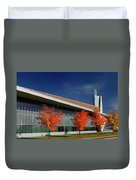 Red Maple Trees And Modern Architecture Of Seneca College York U Duvet Cover
