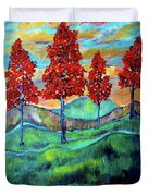 Red Maples On Green Hills With Name And Title Duvet Cover