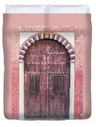 Red Medieval Wood Door Duvet Cover