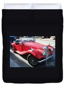 Red Mg Antique Car Duvet Cover