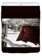 Red Milking Devon Snowflakes Duvet Cover