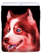Red Modern Siberian Husky Dog Art - 6024 - Bb Duvet Cover