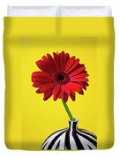 Red Mum Against Yellow Background Duvet Cover