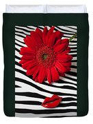 Red Mum And Red Lips Duvet Cover
