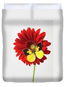 Red Mum With Dogface Butterfly Duvet Cover