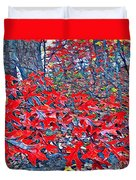 Red  Oak Leaves  Duvet Cover