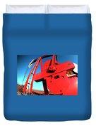 Red Oil Well Pump Oilfield Duvet Cover