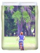 Red On Her Bike Duvet Cover