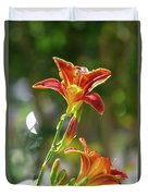 Red Orange Day Lilies I Duvet Cover