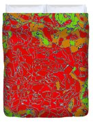 Red Orange Green Abstract Painting Duvet Cover