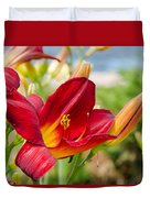Red Orange Lily By The Lake Duvet Cover