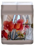 Red Orchid Flowers 01 Duvet Cover